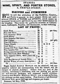 The Cambrian, 13. May 1843, page 2. Advertisement for strong unsweetened gin for mixing.