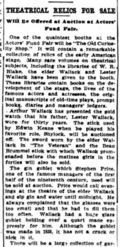 The Theatrical Relics For Sale. New York Press, 17. April 1910, page 5.
