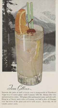 Leo Cotton: Old Mr. Boston Official Bartender's Guide. 1953. After page 112. Tom Collins.