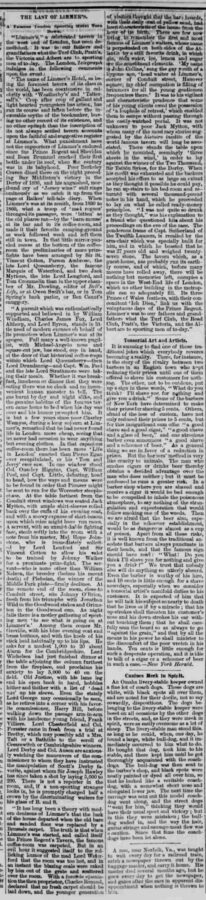 The Last of Limmer's. In: The True Northerner, 17. November 1876, page 3.