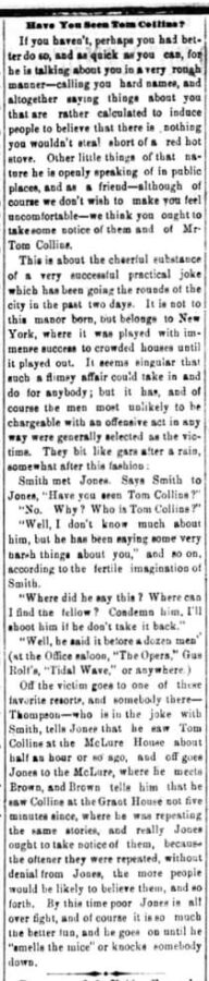 The Wheeling Daily Register, 12. June 1874, page 4. Have You Seen Tom Collins?