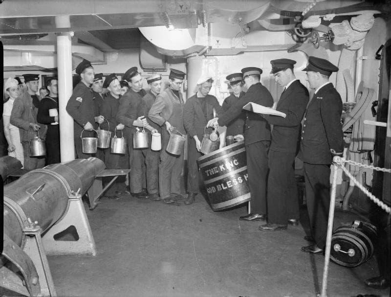 Rum Ration Aboard HMS King George V, 1940.