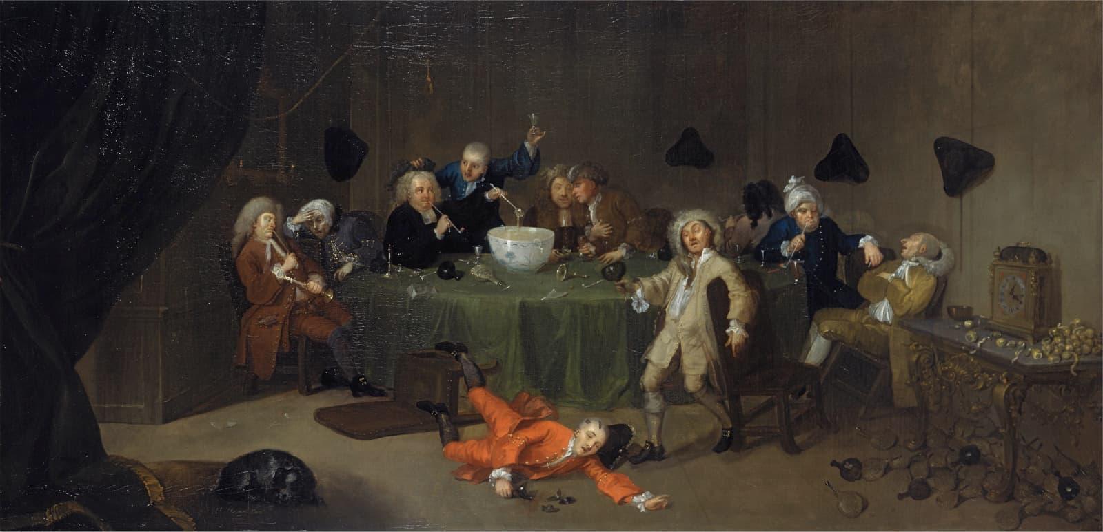 William Hogarth: A Midnight Modern Conversation, about 1732.